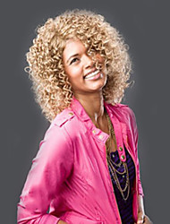 Blonde Color Short Curly European Synthetic Wigs For Afro Women