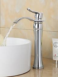 cachoeira generalizada contemporânea com válvula de cerâmica única alça de um buraco por cromo, torneira pia do banheiro