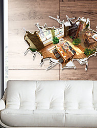 3D Modernism Vintage Living Room 3D Wall Stickers Creative New Removable Wall Decals