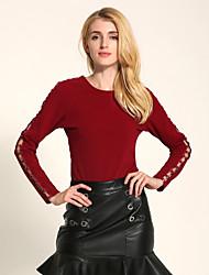 Damen Solide Einfach Ausgehen / Lässig/Alltäglich T-shirt,Rundhalsausschnitt Alle Saisons Langarm Rosa / Rot / Schwarz / GrauBaumwolle /