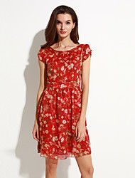 Women's Street chic Print Plus Size /  Floral Print Chiffon Dress,Round Neck Above Knee