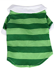 Cotton Classic Stripe Shirt Summer Shirt with Paw Dog Clothes for Pets