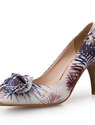 Women's Heels Spring Fall Winter Comfort Fabric Wedding Dress Party & Evening Stiletto Heel Bowknot Purple Walking