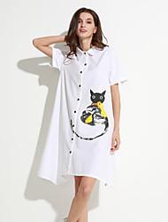 Women's Street chic Shirt Dress,Print Shirt Collar Knee-length / Asymmetrical Short Sleeve White / Green Cotton
