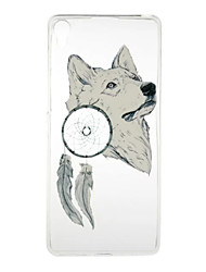for Sony Xperia XA E5 White Wolf Pattern High Permeability TPU Material Phone Case