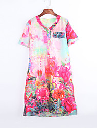 Women's Vintage Print Loose Dress,V Neck Knee-length Silk