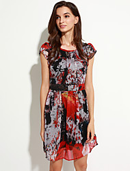 Women's Vintage Print A Line Dress,Round Neck Above Knee Polyester