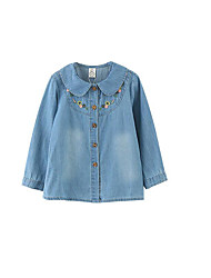 Girl's Casual/Daily Solid BlouseCotton Fall Blue