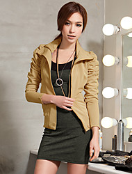 JoanneKitten Women's Casual/Daily / Work / Holiday Vintage / Simple / Street chic Jackets Solid Stand Long Sleeve All Seasons / Winter