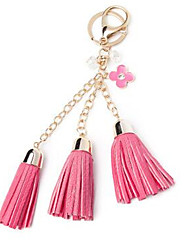 Japan And South Korea High-End Leather Fringed Keychain Camellia Hair Ball Car Key Ring Chain Hanging Bag