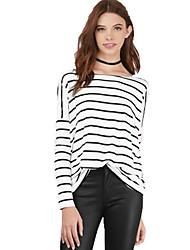 Damen Gestreift Einfach Ausgehen / Lässig/Alltäglich T-shirt,Rundhalsausschnitt Alle Saisons Langarm Weiß Baumwolle Mittel