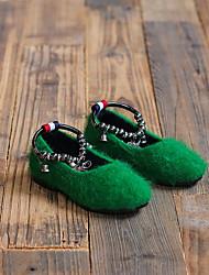 Mädchen-Flache Schuhe-Lässig-PUKomfort-Schwarz Grau Arm Green