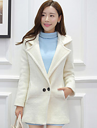 Women's Casual/Daily Simple Coat,Solid Long Sleeve White Wool