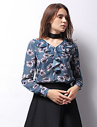 ARKMIIDO Women's Formal Vintage Fall ShirtFloral V Neck Long Sleeve Blue / White Polyester Medium