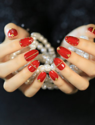 Vibrant Red Gold Riveting Nail Strips Mature And Elegant And Sexy Fashion 1Set