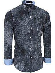 Men's Casual/Daily Simple Spring / Fall Shirt,Print Shirt Collar Long Sleeve Blue / Gray Cotton Medium