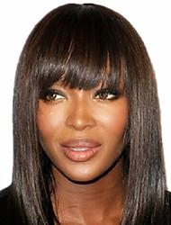 Cute Bob Style 12inch Dark Brown #2 Natural Straight Bangs Human Hair Capless Wigs