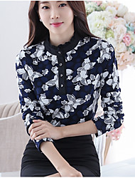 Women's Going out / Casual/Daily Sexy / Cute Fall Shirt,Color Block Stand Long Sleeve Multi-color Silk Medium