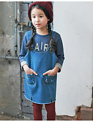 Girl's Casual/Daily Solid DressCotton Fall Blue