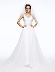 LAN TING BRIDE A-line Wedding Dress Beautiful Back Court Train Spaghetti Straps Organza withBeading Button Criss-Cross Ruche Sash /