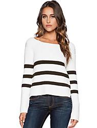 Damen Kurz Pullover-Lässig/Alltäglich Boho Gestreift Weiß Rundhalsausschnitt Langarm Polyester Herbst / Winter Mittel Mikro-elastisch