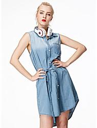 Dámské Sexy Dovolená Džínovina Šaty Jednobarevné,Bez rukávů Košilový límec Délka ke kolenům Modrá Bavlna Léto Mid Rise Lehce elastické