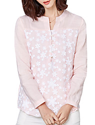 Spring Fall Go out Casual Women's Tops Organza Embroidered Stand Collar Long Sleeve Blouse Pink / White