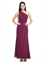 2017 Lanting Bride® Watteau Train Chiffon Elegant Bridesmaid Dress - One Shoulder with Side Draping