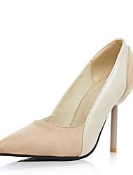 Damen-High Heels-Kleid-Kunstleder-StöckelabsatzSchwarz Beige