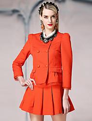 Damen Solide Einfach Arbeit Jacke,Frühling / Herbst Rundhalsausschnitt Langarm Blau / Weiß / Orange Mittel Baumwolle / Polyester
