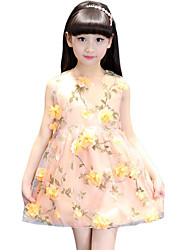 Girl's Going out Floral DressCotton / Others Summer Pink / Yellow