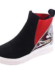 Women's Boots Winter Comfort PU Dress / Casual Platform Split Joint Black / Red Walking
