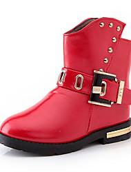 Girl's Boots Fall / Winter Comfort PU Casual Flat Heel Zipper Black / Pink / Red Walking