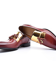 Men's Loafers & Slip-Ons Comfort Formal Shoes Cowhide Fall Office & Career Party & Evening Comfort Formal Shoes Lace-up Flat HeelBlack