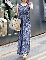 Women's Casual/Daily Simple Swing Dress,Print Round Neck Maxi Sleeveless Blue Cotton Fall / Winter Mid Rise Micro-elastic Medium