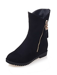 Women's Kitten-Heels Solid Round Closed Toe Zipper Boots