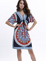 Women's Boho Casual/Daily / Beach Sexy / Boho Loose DressPrint Deep V Knee-length Short Sleeve White