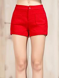 Damen Hose - Einfach Kurze Hose Wolle / Polyester Mikro-elastisch