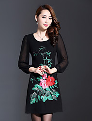 AINIER Women's Casual/Daily Chinoiserie Tunic DressEmbroidered Round Neck Above Knee  Sleeve Black Polyester