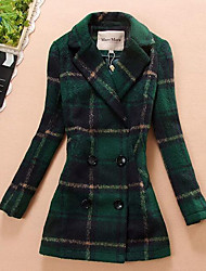Damen Verziert Einfach Lässig/Alltäglich Mantel,Winter Langarm Beige / Grün Mittel Wolle