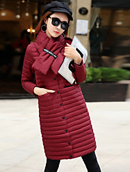 Women's Long Down Coat,Simple Casual/Daily Solid-Polyester White Duck Down Long Sleeve Red / Black