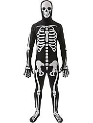 Costumes de Cosplay / Costume de Soirée Squelette/Crâne Fête / Célébration Déguisement Halloween Blanc / Noir Imprimé Collant/Combinaison