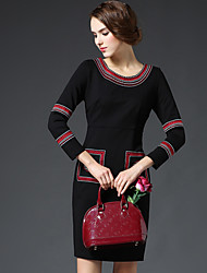 GATHER BEAUTY Women's Going out Vintage Sheath DressPatchwork Round Neck Above Knee Long Sleeve Red / Black Cotton / Rayon Fall High Rise Inelastic