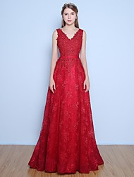 Dress Ball Gown V-neck Floor-length Lace / Satin / Tulle with Appliques / Beading / Pearl Detailing / Sash / Ribbon