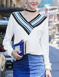 Damen Solide / Gestreift Einfach Lässig/Alltäglich T-shirt,V-Ausschnitt Sommer / Herbst Langarm Weiß Polyester Dünn