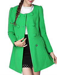 Women's Going out Casual Fall Winter Daily Wool Trench Coat Solid Color Round Neck Long Sleeve