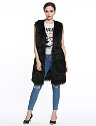 Women's Going out / Casual Street chic Long Fur Coat Vest Solid V Neck Sleeveless Pink / Beige / Black / Gray / Orange Faux Fur