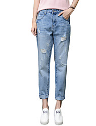 Women's Solid Blue Jeans PantsSexy / Simple / Street chic Spring / Fall