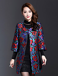 AINIER Women's Casual/Daily Chinoiserie Tunic DressJacquard Round Neck Above Knee Long Sleeve Black Polyester
