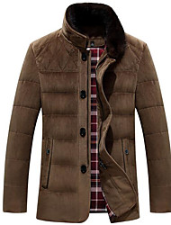 Men's Regular Down Coat,Simple Casual/Daily Solid-Polyester White Duck Down Long Sleeve Stand Blue / Red / Black / Brown